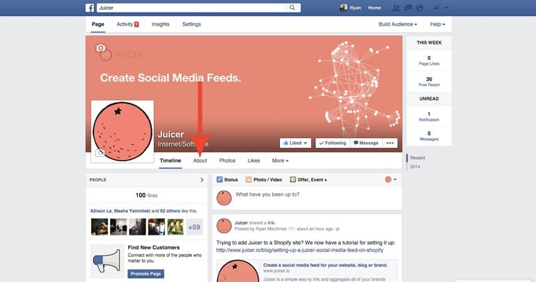 Facebook Page About link